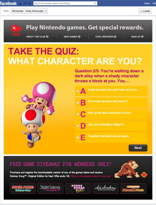 Nintendo Character Quiz - Question