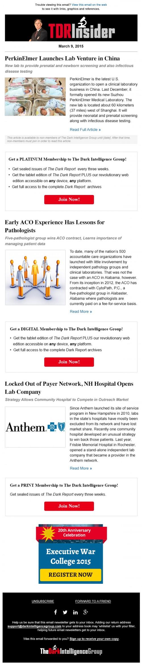 The Dark Report Insider Newsletter Design