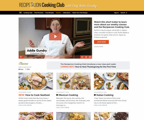 Recipe Lion Cooking Club with Chef Addie Gundry